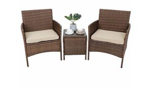 Patio Porch Furniture Sets 3 Pieces PE Rattan Wicker Chairs with Table Outdoor for Sale in New York, NY