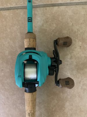 13 Fishing Origin Teal Baitcast Rod and Reel 7.3:1 RH for Sale in Tolleson, AZ