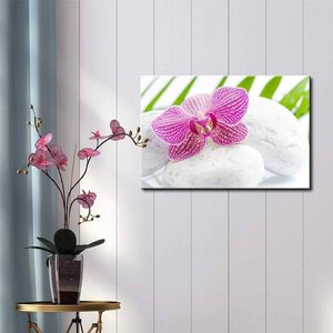 ((Free Shipping)) Pink Orchid Over Rocks with Palm Leaves on The Background - Canvas Art Home Decor Painting like print for Sale in El Dorado, AR