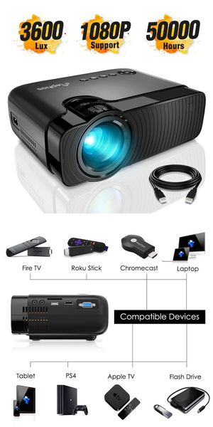 "ELEPHAS Mini Projector, Full HD 1080P and 180"" Display, 3600 Lux Portable Home Theater Projector with 50,000 Hours LED Lamp Life, USB/HD/SD/AV/VGA for Sale in Memphis, TN"
