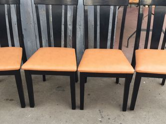 Four Regular Blak Dining Chairs Whith New Upholstery for Sale in Fresno,  CA