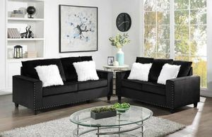 New In The Box - Black Velvet Sofa & Loveseat W/Nailhead Trim for Sale in Houston, TX