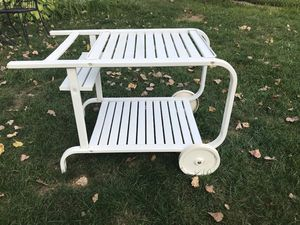 Vintage patio/backyard white metal bar/serving cart rolling for Sale in Skokie, IL