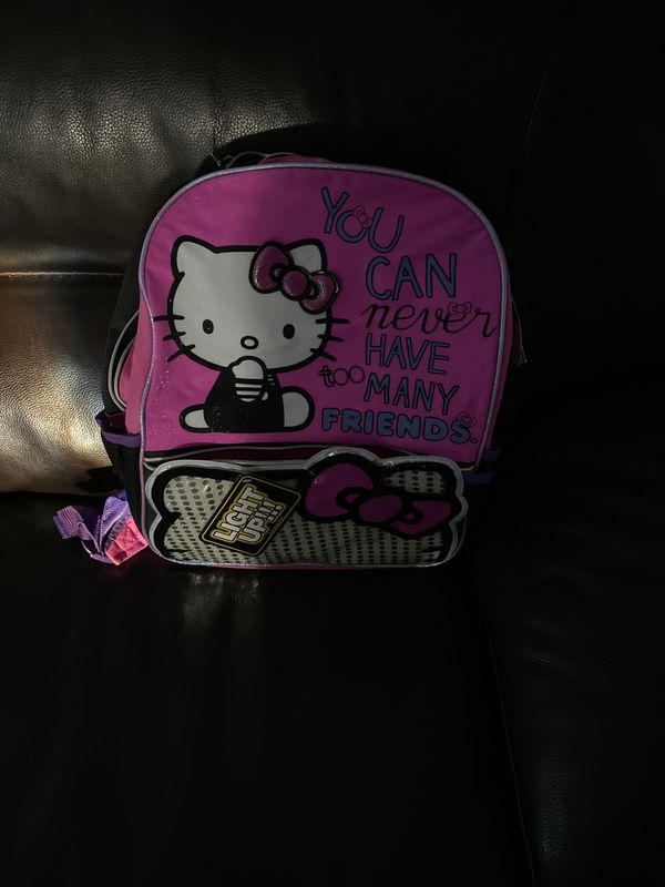 Brand new. Hello kitty back pack with lights