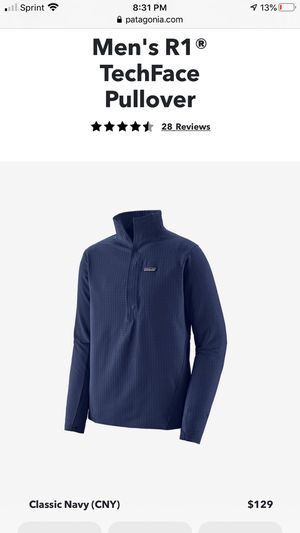 """PATAGONIA R1 TechFace Pullover size Small Navy Blue """"Brand new w/Tags"""" for Sale in Hillsboro, OR"""