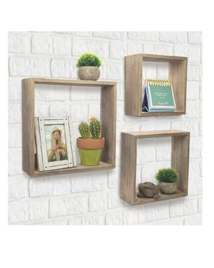 Floating Rustic Wall Shelves: Set of 3 Nested Barnwood Cube Shelves. Wall-Mounted Storage Bookshelf is perfect for home décor for Sale in Norco, CA