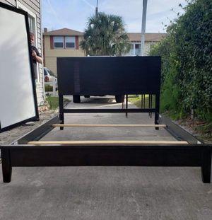 Black Wood Project Queen Bed Frame / Slats / Headboard / Small Footboard Set for Sale in Jacksonville, FL