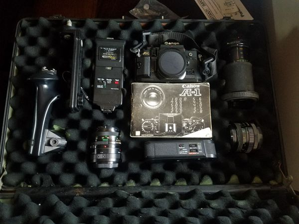 A1 Canon Vintage Camera with Accessories & Case