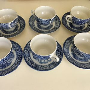 Made in England . Liberty Blue Historic Colonial Scene Teacups&Saucers for Sale in Kirkland, WA