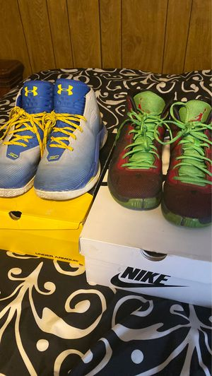 Nike Air Jordan SuperFly 4 Marvin The Martian Blake Griffin Size 10 & Steph curry under armour shoes size 10.5 for Sale in Nashville, TN