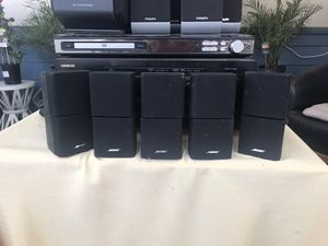 Set of 5 Bose Double Cube Surround Sound Speaker, buffer box and receiver (not working ) for Sale in San Jose, CA