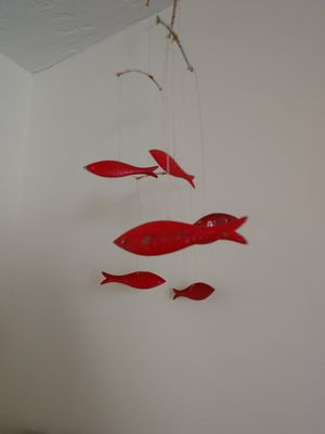 Vintage Rustic Red Metal Fish Mobile for Sale in St. Pete Beach, FL