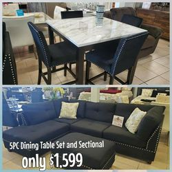 5PC Dining Table Set And Sectional for Sale in Las Vegas,  NV