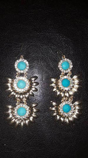 Beautiful turquoise rhinestone hook earrings for Sale in Ramer, AL