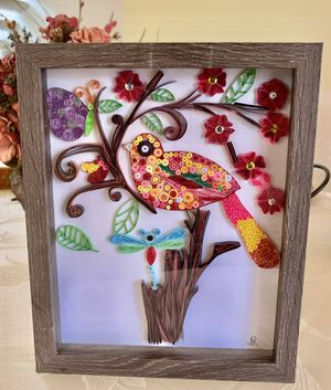 Framed Quilled Paper Art Bird, DragonFly and Butterflies for Sale in Hialeah, FL