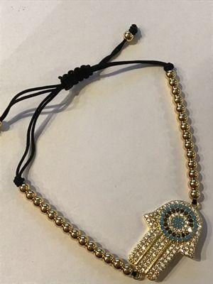 Crystal Hamsa Bolo Slider Bracelet w/Bead Chain- Gold Plate-Adjustable Length *Ship Nationwide Or Pickup Boca Raton for Sale in Boca Raton, FL