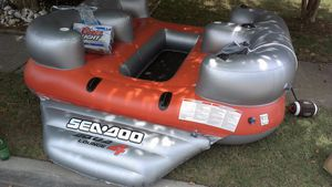 SeaDoo island Float speaker pool cup holder drink lounge inflatable boat fun with anchor for Sale in PLYMOUTH MTNG, PA