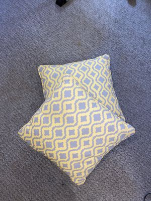 Two 18x18 decorative pillows yellow&gray for Sale in Mesa, AZ