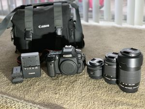 Canon 80D with 3 original lenses for Sale in Downey, CA