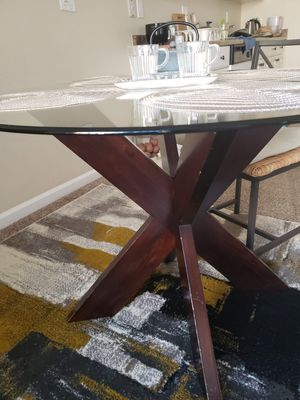 Glass top Dining table with wooden frame... for Sale in San Francisco, CA
