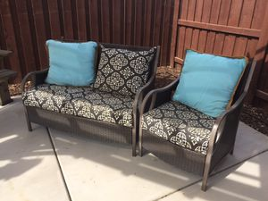Loveseat and chair Patio furniture (wicker) for Sale in Visalia, CA
