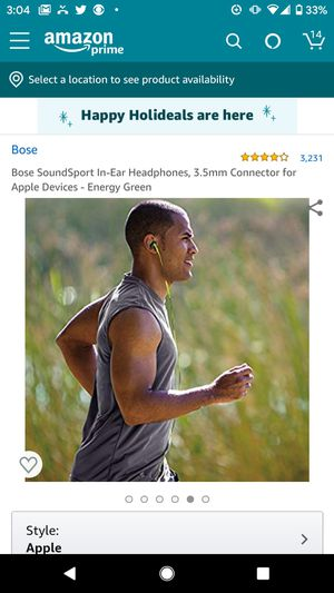 Bose SoundSport In-Ear Headphones, 3.5mm Connector for Apple Devices - Energy Green for Sale in Pittsburgh, PA