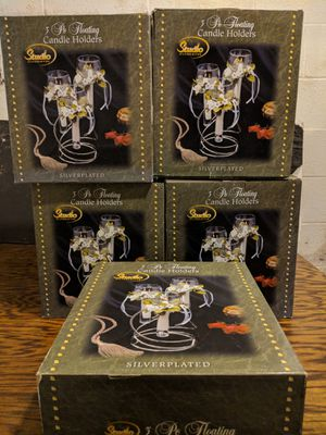 Lot of five new studio silversmiths silver plated floating candle holder sets for Sale in Clinton, OH