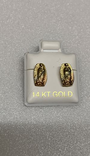 Aretes de Virgen de Guadalupe. Oro 14k for Sale in Bell, CA