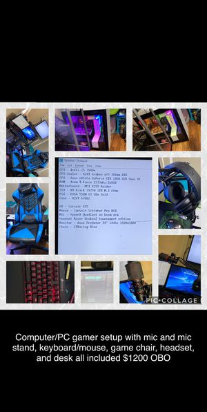 Computer/PC gamer setup with mic and mic stand, keyboard/mouse, game chair, headset, and desk for Sale in Bristol, TN
