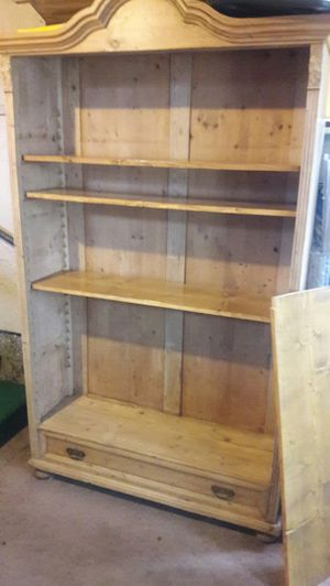 Solid pine book shelve. Adjustable shelves and hand carved and numbered for Sale in Mason City, IA