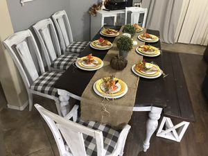 🍁❤️$625 farmhouse dining set white grey Ashley furniture table 5 chairs bench gray buffalo check for Sale in Laveen Village, AZ