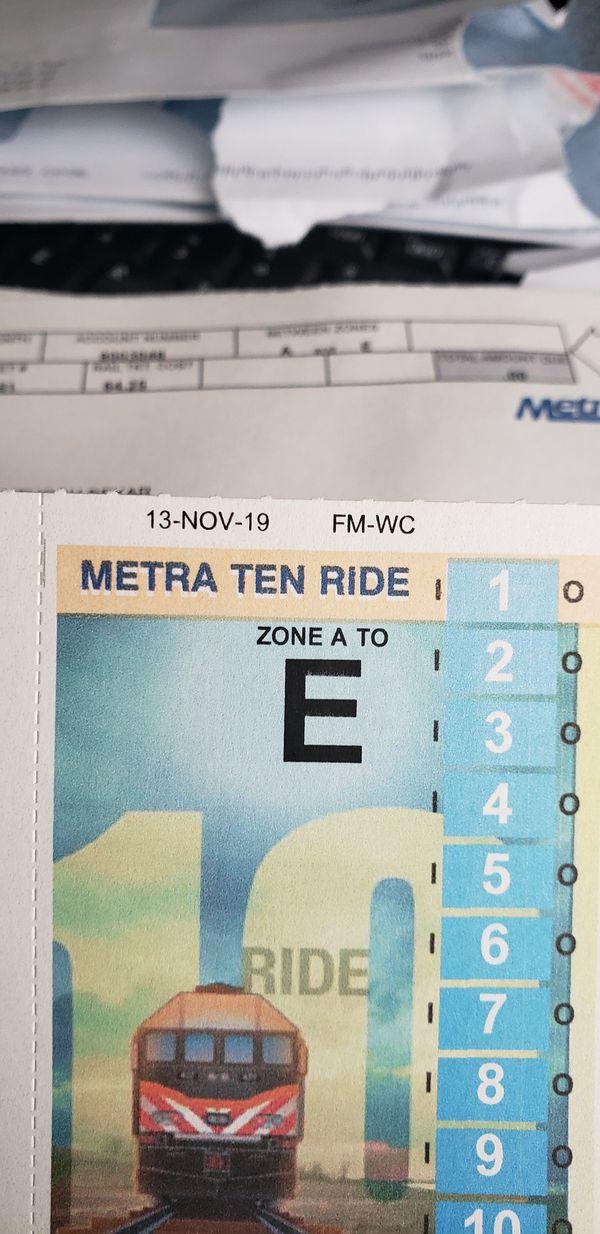 Metra 10 ride tickets...