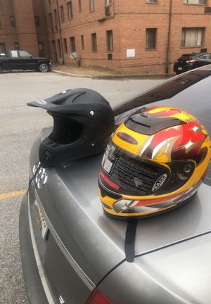 Dirt bike and motorcycle helmet fro sale 100 for both for Sale in Washington, DC