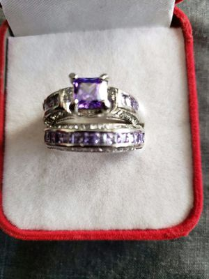 Set 925 sterling silver purple white & CZ wedding set ring size 9 for Sale in Moreno Valley, CA