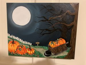 Autumnly patch in the night canvas icrylic paint $35 for Sale in Cumberland, RI