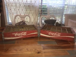 Two Vintage Red Coca-Cola Wooden Crates for Sale in Flint, TX