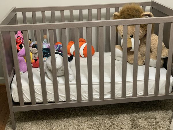 Baby crib, changing table, mattress and changing pad