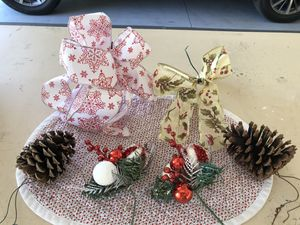 Christmas Ribbons, Pine Cones & Decorations for decorating wreaths for Sale in Nampa, ID