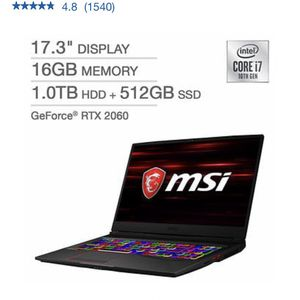 Msi GE75 Raider Gaming Laptop RTX 2060 1 TB for Sale in South Brunswick Township, NJ