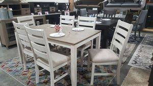 Ashley Furniture White/Light Brown 7 Piece Dining Table Set for Sale in Fountain Valley, CA