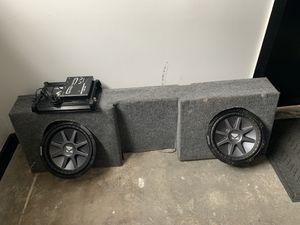 "(2) 12"" kicker subs, box , amp & epic center single cab for Sale in Vista, CA"