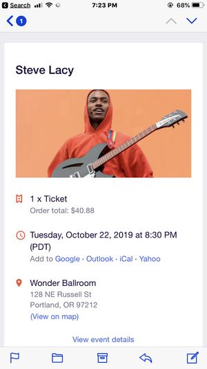 Steve Lacey ticket for Sale in Portland, OR
