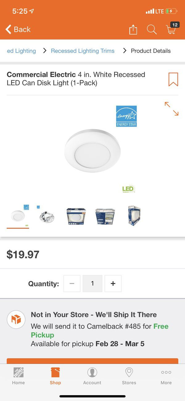 Commercial Electric 4 in  White Recessed LED Can Disk Light (1-Pack) for  Sale in Glendale, AZ - OfferUp