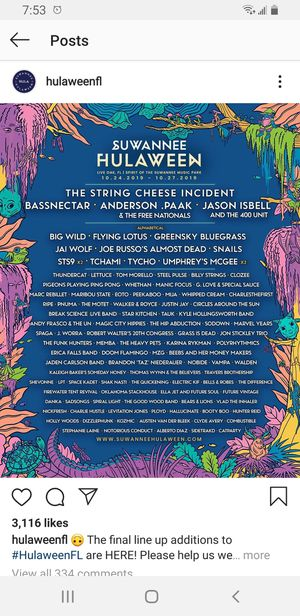 Hulaween 3 day ticket + car camping pass for Sale in St. Petersburg, FL