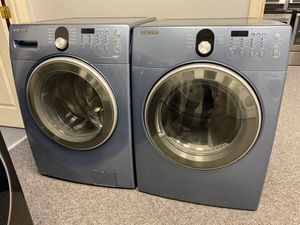 BLUE SAMSUNG FRONT LOAD HIGH EFFICIENCY WASHER AND DRYER SET for Sale in Fort Mill, SC