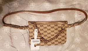 Michael kors Belt Bag Waist Wallet MK Logo Beige With Chain Large NWT for Sale in Miami, FL