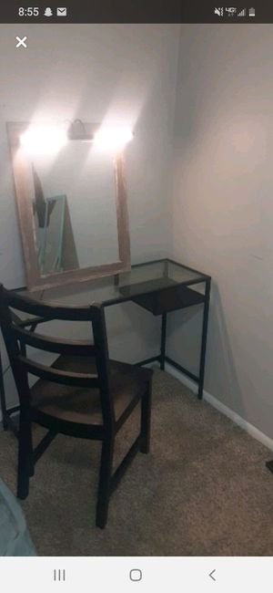 Glass vanity w/mirror light and chair for Sale in Vancouver, WA