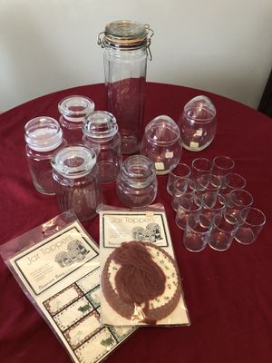 Assorted glassware, votive candle holders and jar toppers for Sale in Mechanicsburg, PA