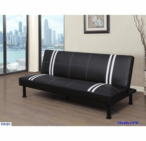 6 ft long Futon sofa bed with double white stripes ( new) for Sale in San Mateo, CA