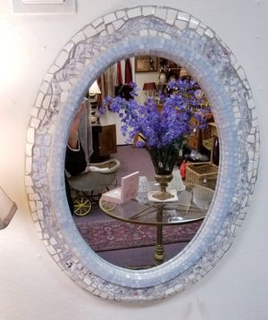 Ercole Home Shabby Chic Mosaic White/Blue Stained Glass with Ceramic trim Mirror for Sale in Port Orchard, WA